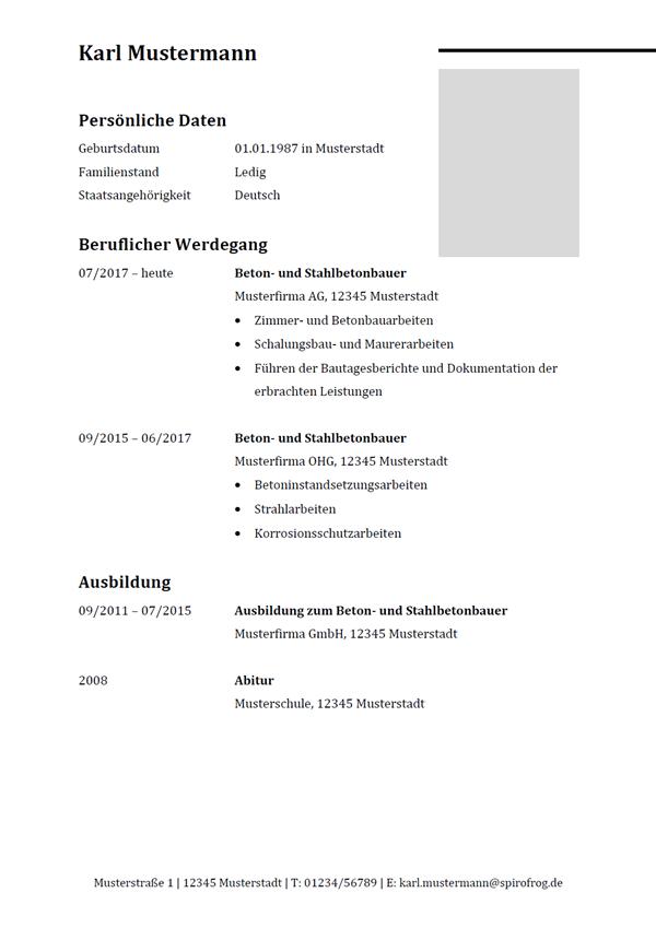 Vorlage / Muster: Lebenslauf Beton- und Stahlbetonbauer / Beton- und Stahlbetonbauerin