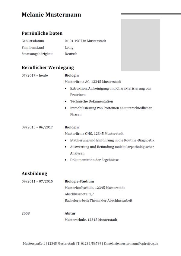 Vorlage / Muster: Lebenslauf Biologe / Biologin