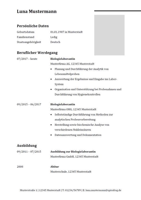 Vorlage / Muster: Lebenslauf Biologielaborant / Biologielaborantin