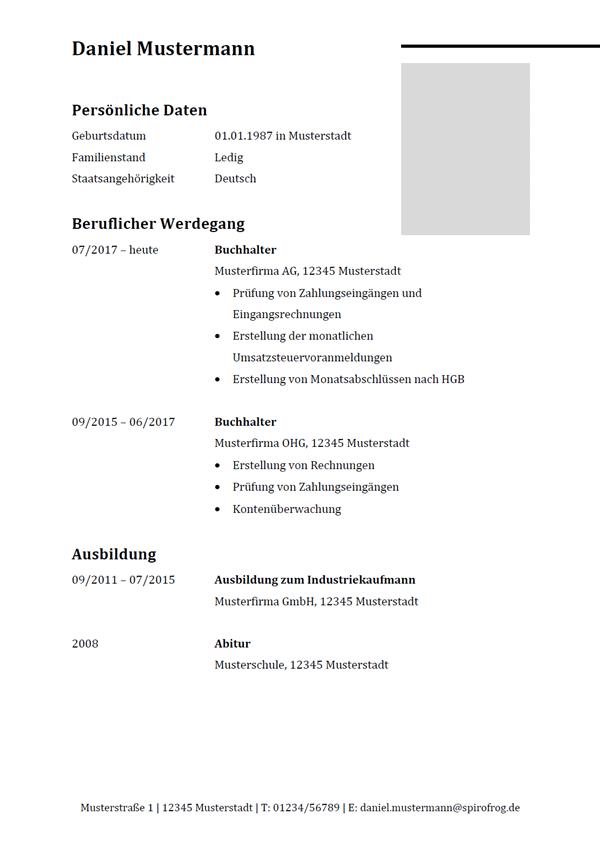 Vorlage / Muster: Lebenslauf Buchhalter / Buchhalterin