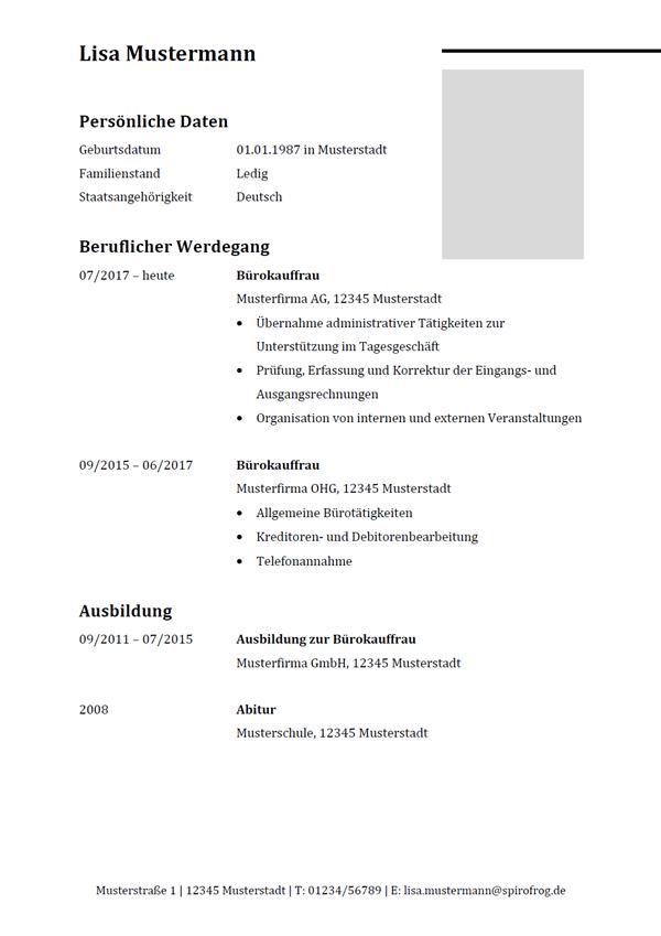 Vorlage / Muster: Lebenslauf Bürokaufmann / Bürokauffrau