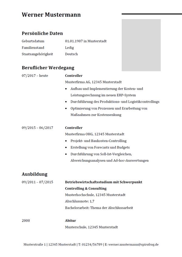 Vorlage / Muster: Lebenslauf Controller / Controllerin