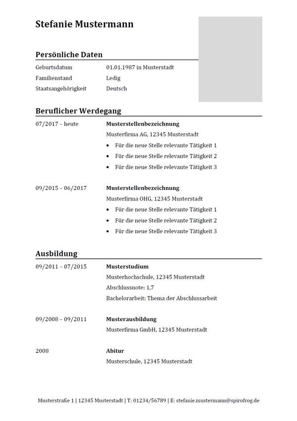 Vorlage / Muster: Lebenslauf klassisch