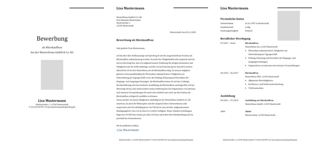 Vorlage / Muster: Bewerbung Bürokaufmann / Bürokauffrau