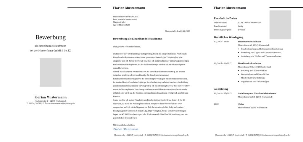 Vorlage / Muster: Bewerbung Einzelhandelskaufmann / Einzelhandelskauffrau