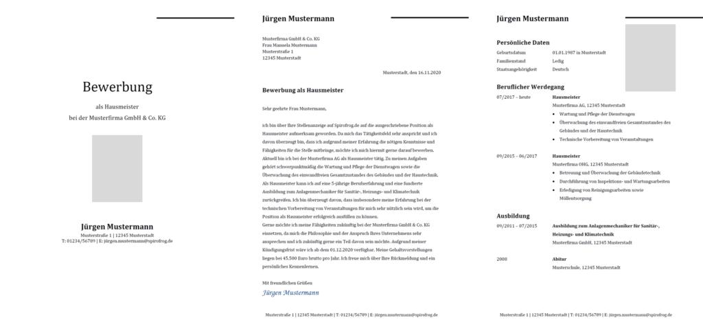 Vorlage / Muster: Bewerbung Hausmeister / Hausmeisterin