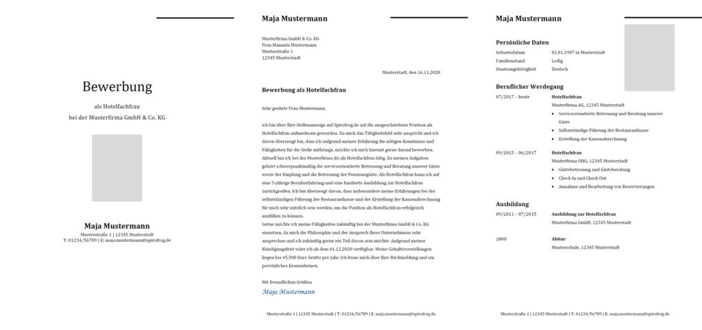 Vorlage / Muster: Bewerbung Hotelfachmann / Hotelfachfrau