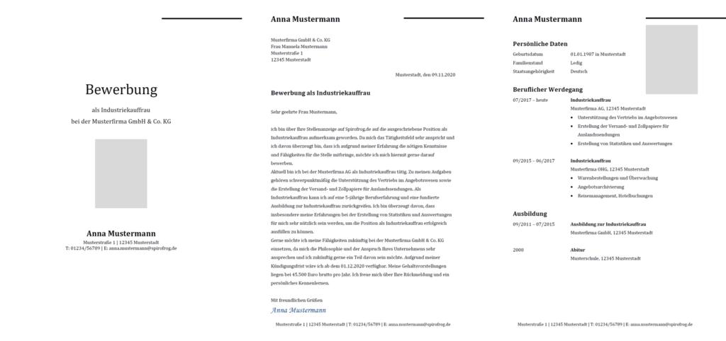 Vorlage / Muster: Bewerbung Industriekaufmann / Industriekauffrau
