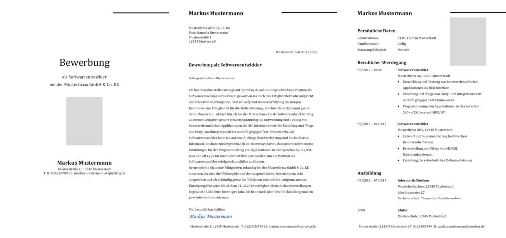 Vorlage / Muster: Bewerbung Softwareentwickler / Softwareentwicklerin