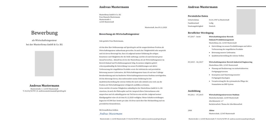 Vorlage / Muster: Bewerbung Wirtschaftsingenieur / Wirtschaftsingenieurin