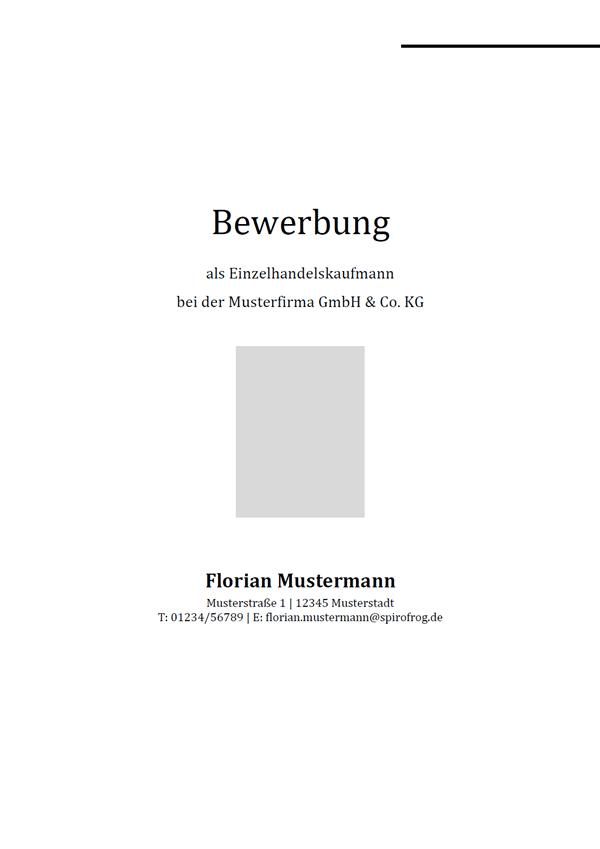Vorlage / Muster: Bewerbungsdeckblatt Einzelhandelskaufmann / Einzelhandelskauffrau