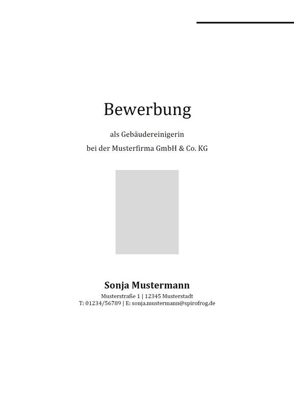 Vorlage / Muster: Bewerbungsdeckblatt Gebäudereiniger / Gebäudereinigerin