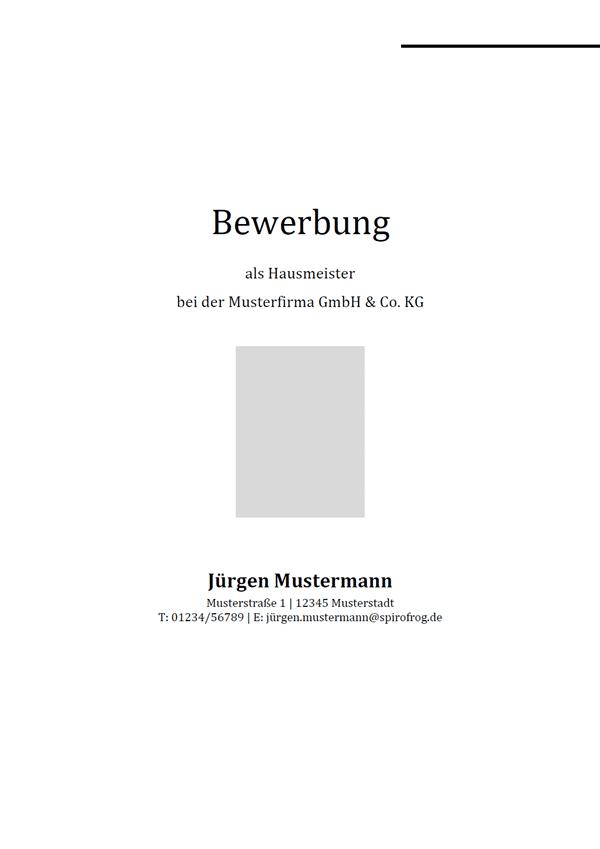 Vorlage / Muster: Bewerbungsdeckblatt Hausmeister / Hausmeisterin