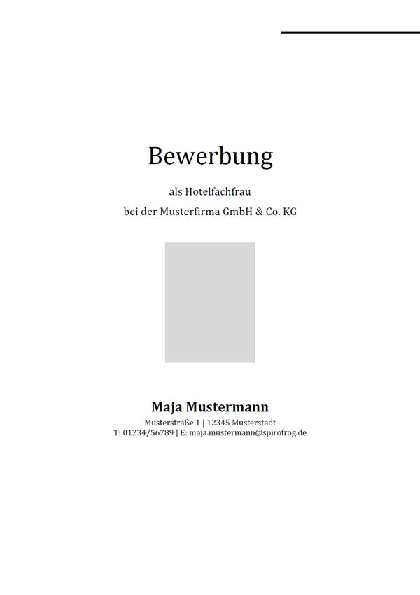 Vorlage / Muster: Bewerbungsdeckblatt Hotelfachmann / Hotelfachfrau