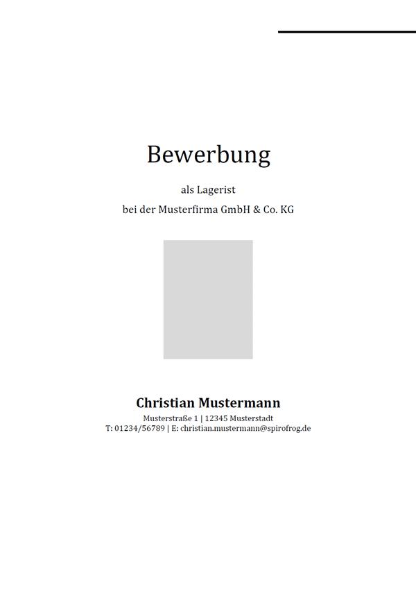 Vorlage / Muster: Bewerbungsdeckblatt Lagerist / Lageristin