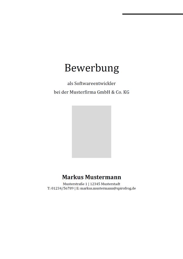 Vorlage / Muster: Bewerbungsdeckblatt Softwareentwickler / Softwareentwicklerin