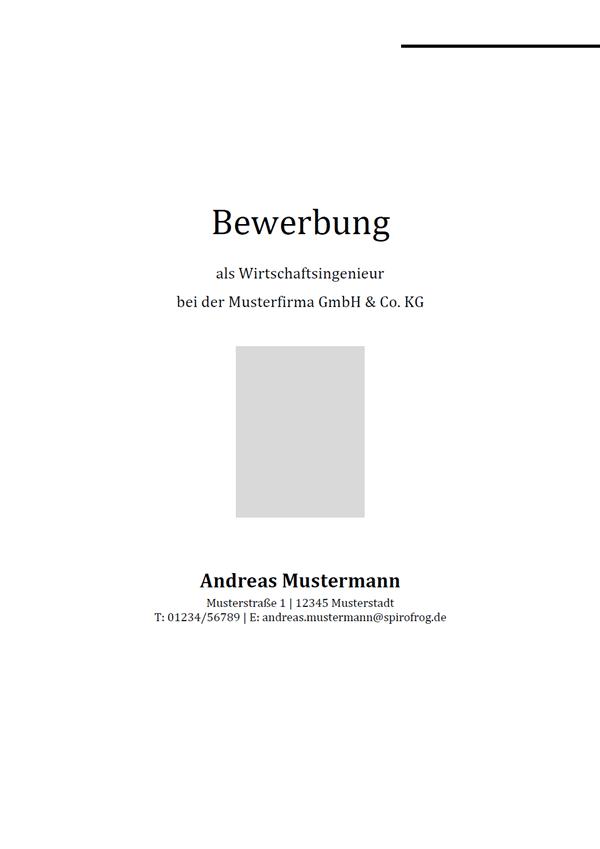 Vorlage / Muster: Bewerbungsdeckblatt Wirtschaftsingenieur / Wirtschaftsingenieurin