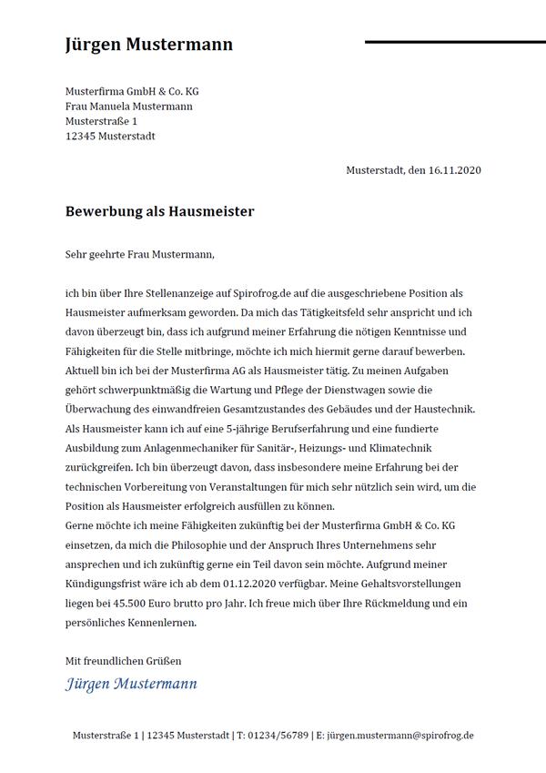 Vorlage / Muster: Bewerbungsschreiben Hausmeister / Hausmeisterin