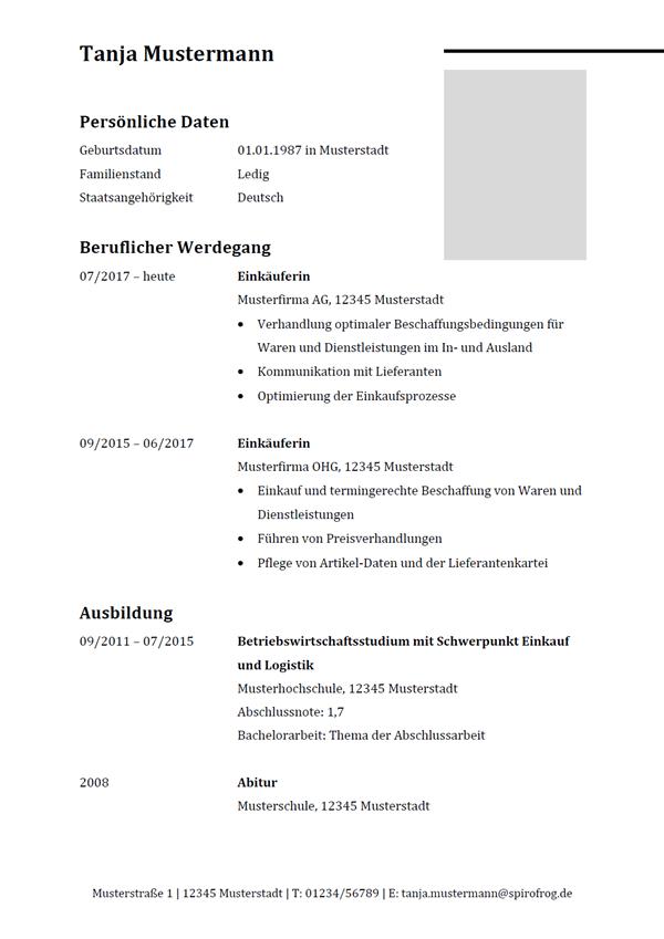 Vorlage / Muster: Lebenslauf Einkäufer / Einkäuferin