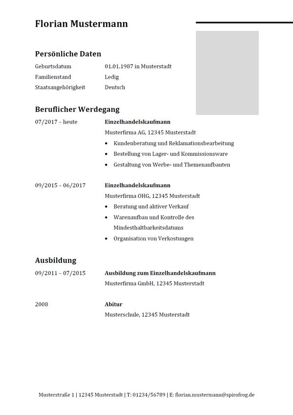 Vorlage / Muster: Lebenslauf Einzelhandelskaufmann / Einzelhandelskauffrau