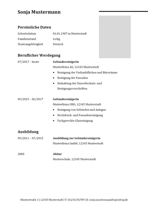 Vorlage / Muster: Lebenslauf Gebäudereiniger / Gebäudereinigerin