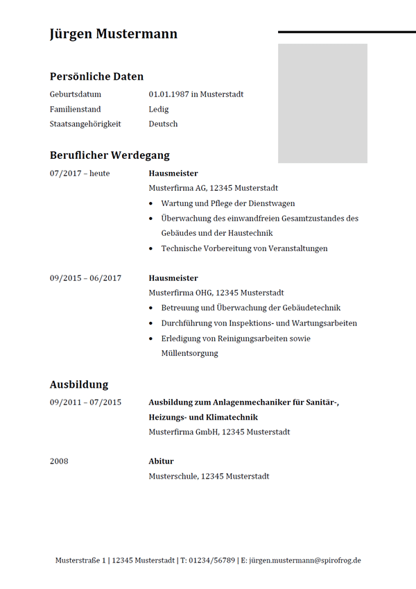 Vorlage / Muster: Lebenslauf Hausmeister / Hausmeisterin