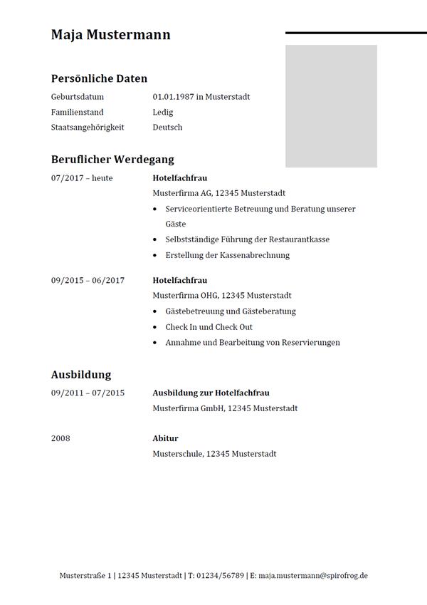 Vorlage / Muster: Lebenslauf Hotelfachmann / Hotelfachfrau