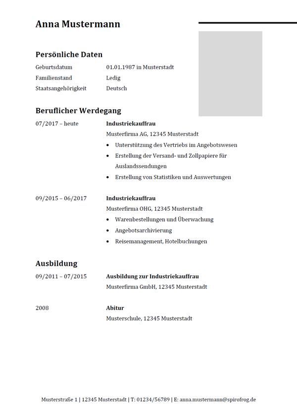 Vorlage / Muster: Lebenslauf Industriekaufmann / Industriekauffrau