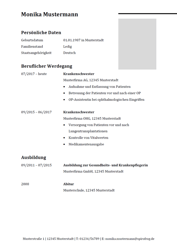 Vorlage / Muster: Lebenslauf Krankenschwester / Krankenpfleger