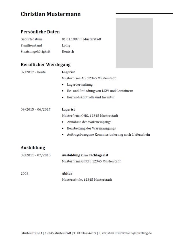 Vorlage / Muster: Lebenslauf Lagerist / Lageristin