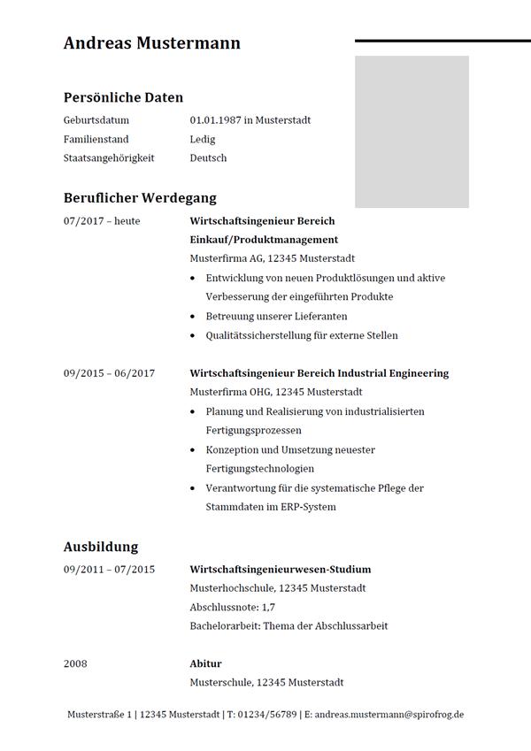 Vorlage / Muster: Lebenslauf Wirtschaftsingenieur / Wirtschaftsingenieurin