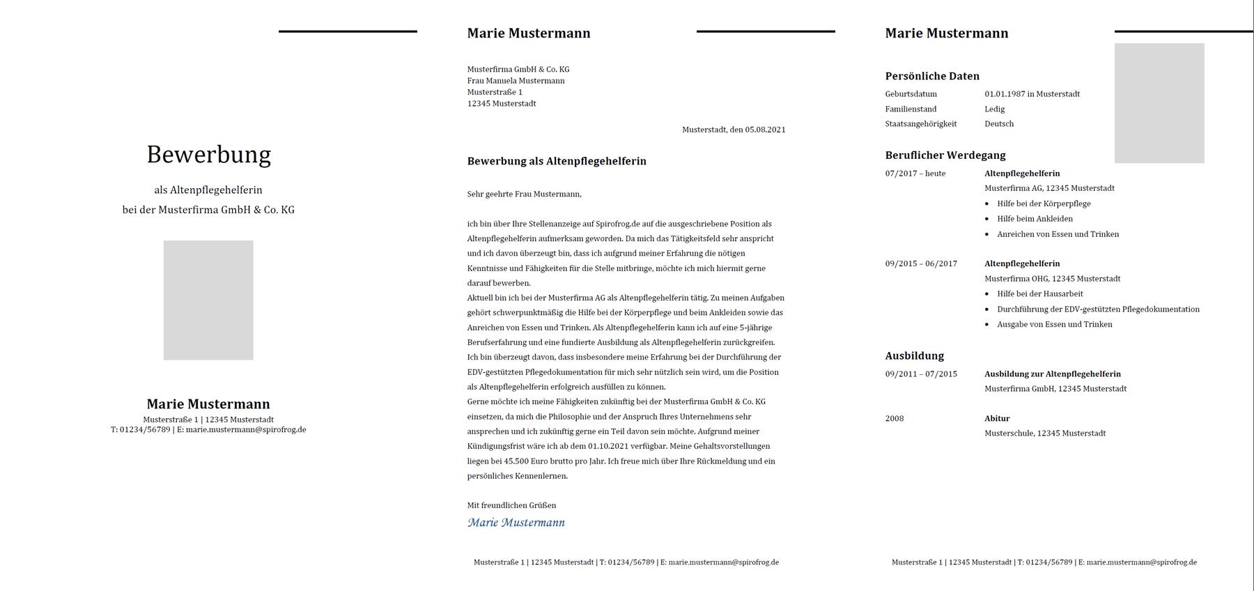 Vorlage / Muster: Bewerbung Altenpflegehelfer / Altenpflegehelferin