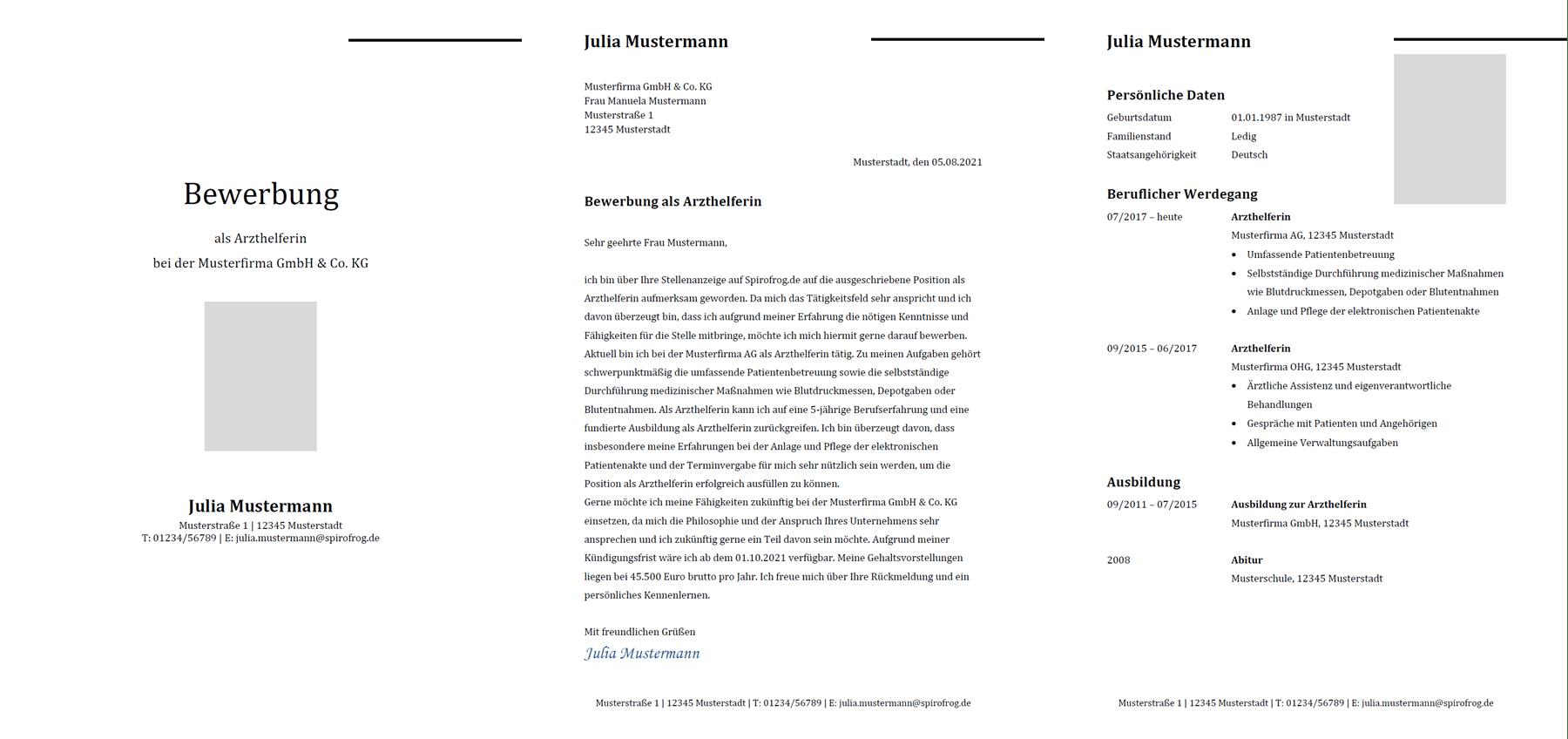 Vorlage / Muster: Bewerbung Arzthelfer / Arzthelferin