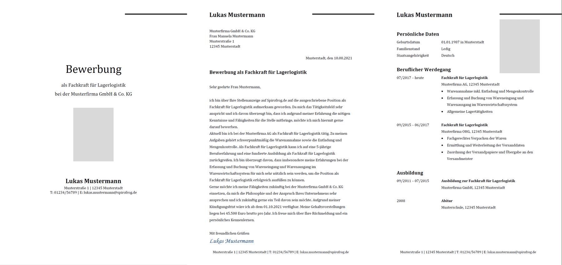 Vorlage / Muster: Bewerbung Fachkraft für Lagerlogistik