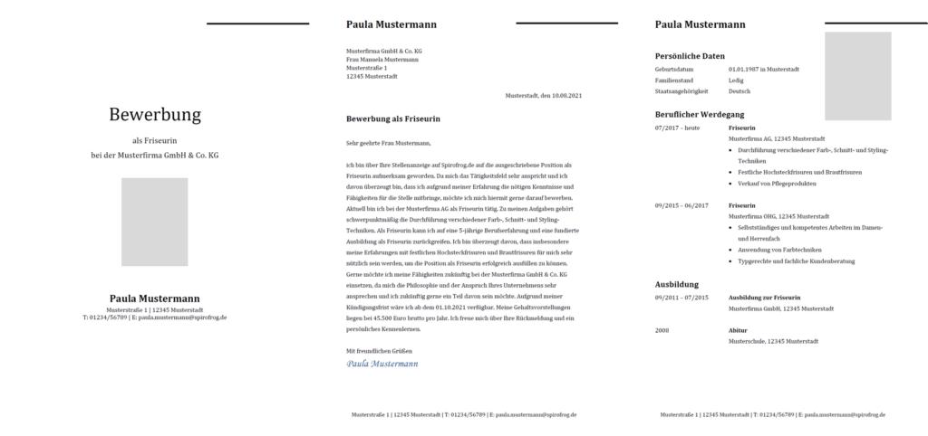 Vorlage / Muster: Bewerbung Friseur / Friseurin