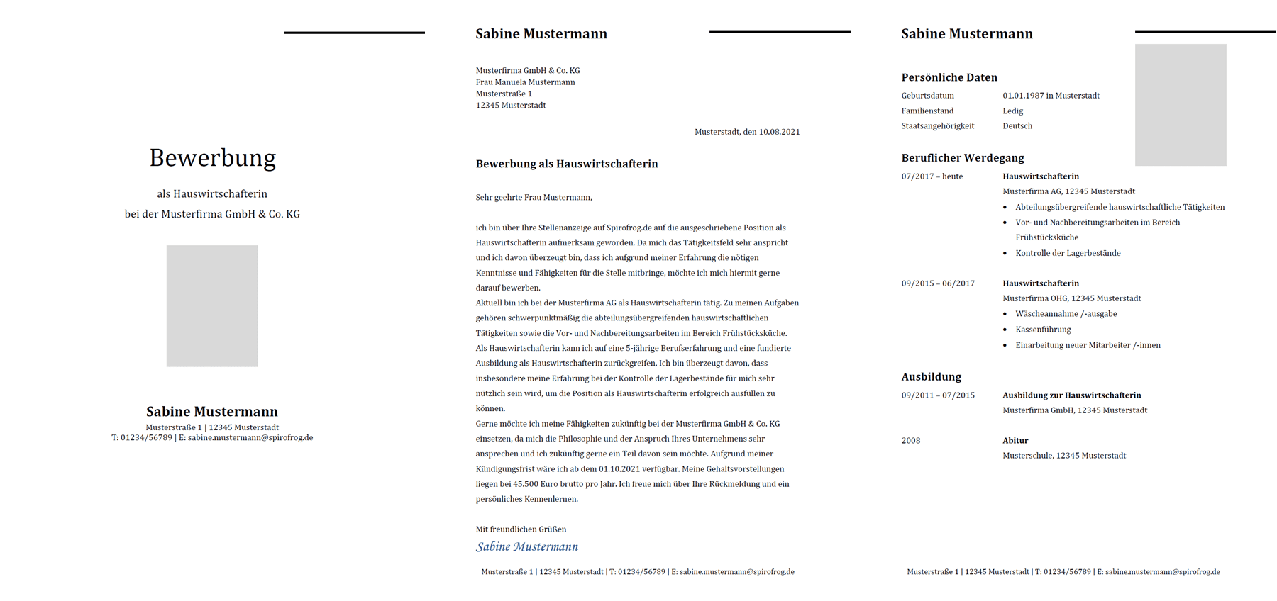 Vorlage / Muster: Bewerbung Hauswirtschafter / Hauswirtschafterin