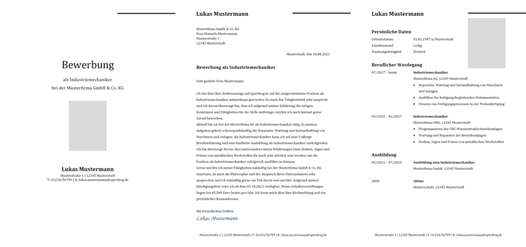 Vorlage / Muster: Bewerbung Industriemechaniker / Industriemechanikerin