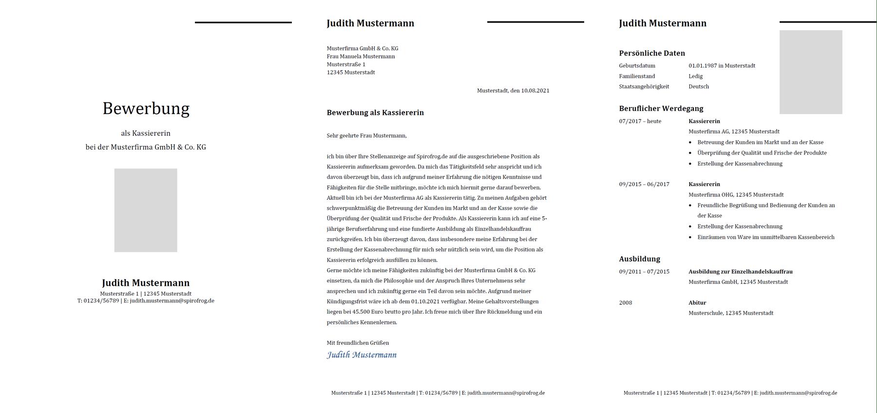 Vorlage / Muster: Bewerbung Kassierer / Kassiererin