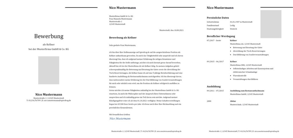 Vorlage / Muster: Bewerbung Kellner / Kellnerin