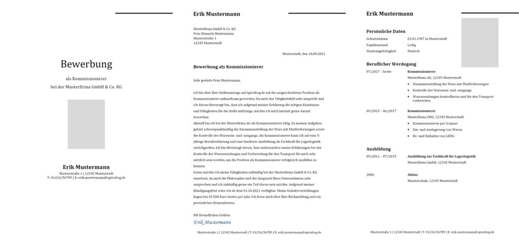 Vorlage / Muster: Bewerbung Kommissionierer / Kommissioniererin