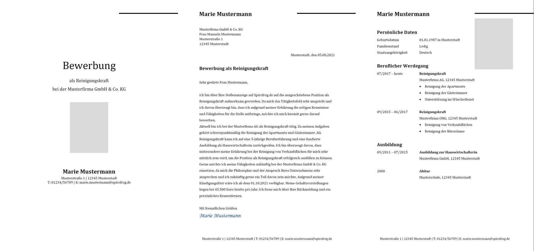 Vorlage / Muster: Bewerbung Reinigungskraft
