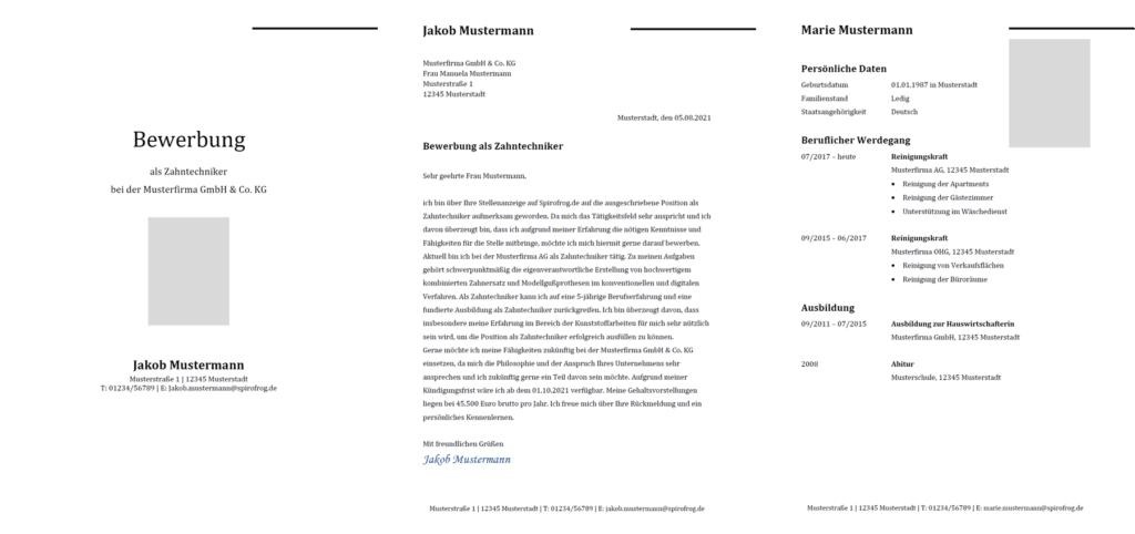 Vorlage / Muster: Bewerbung Zahntechniker / Zahntechnikerin