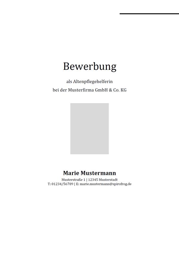 Vorlage / Muster: Bewerbungsdeckblatt Altenpflegehelfer / Altenpflegehelferin