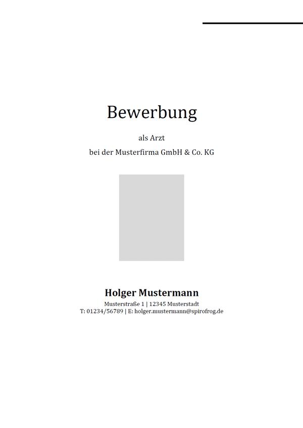 Vorlage / Muster: Bewerbungsdeckblatt Arzt / Ärztin