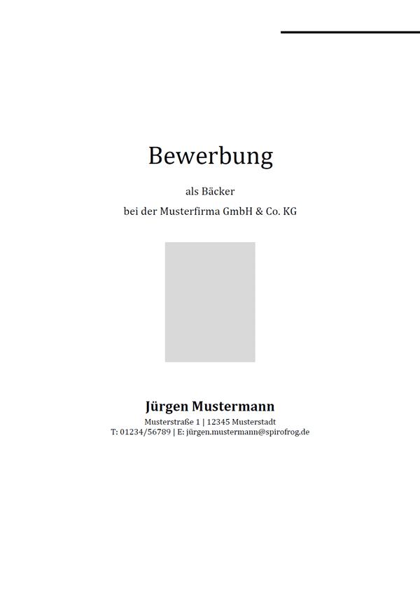 Vorlage / Muster: Bewerbungsdeckblatt Bäcker / Bäckerin
