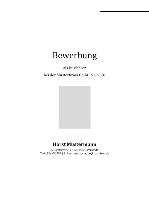 Vorlage / Muster: Bewerbungsdeckblatt Busfahrer / Busfahrerin