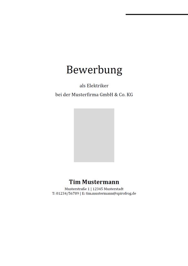 Vorlage / Muster: Bewerbungsdeckblatt Elektriker / Elektrikerin