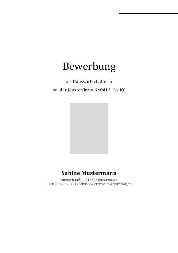 Vorlage / Muster: Bewerbungsdeckblatt Hauswirtschafter / Hauswirtschafterin