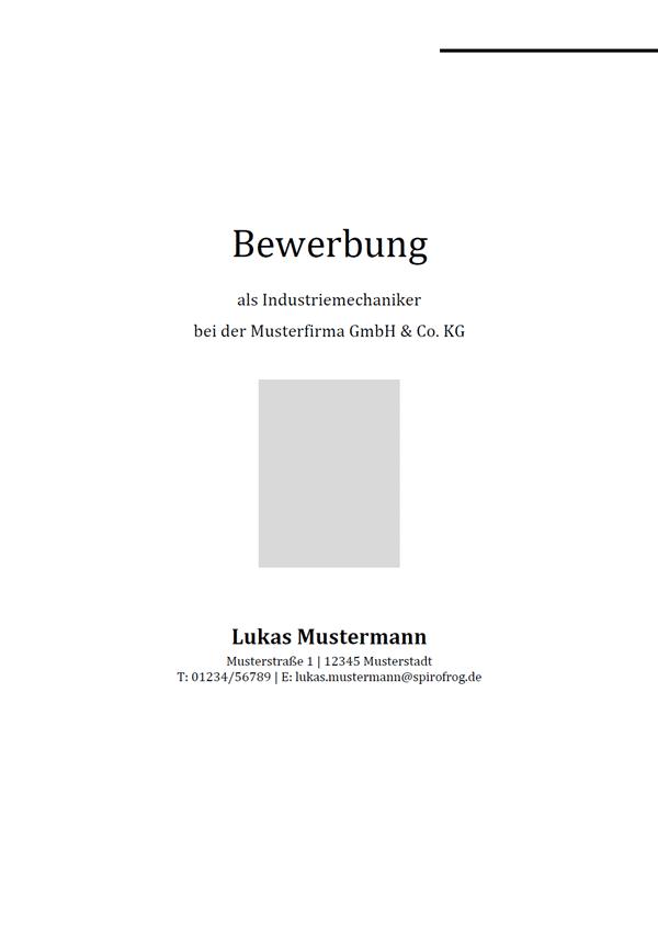 Vorlage / Muster: Bewerbungsdeckblatt Industriemechaniker / Industriemechanikerin