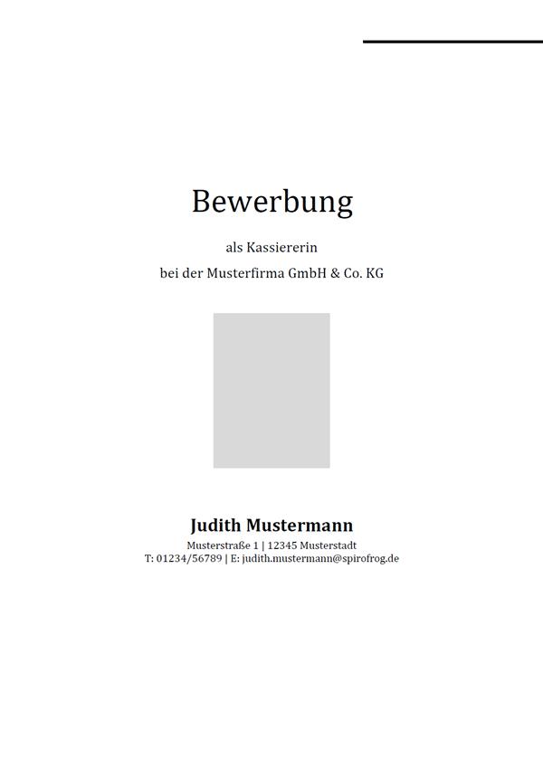 Vorlage / Muster: Bewerbungsdeckblatt Kassierer / Kassiererin
